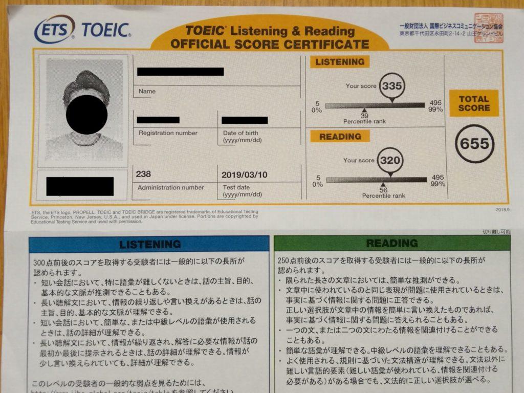2019年3月10日TOEIC試験結果
