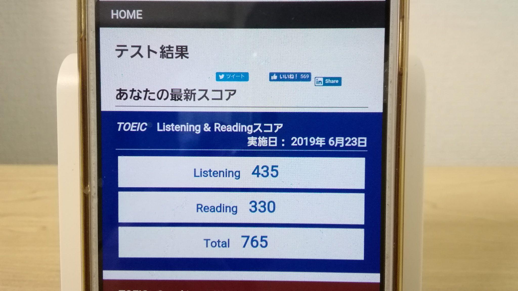 2019年6月23日TOEIC試験結果